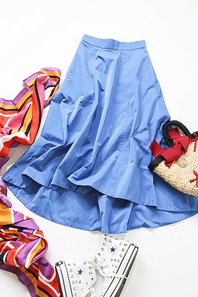 新品タグ付き アナイ ANAYI サイドZIP ポケット付き 綺麗なブルーカラー コットンブレンドスカート_画像3