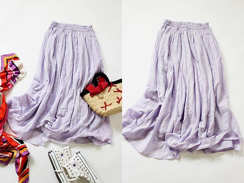 ジャーナルスタンダード JOURNAL STANDARD relume コットン100% ラベンダーカラーエアリーなロングスカート size F