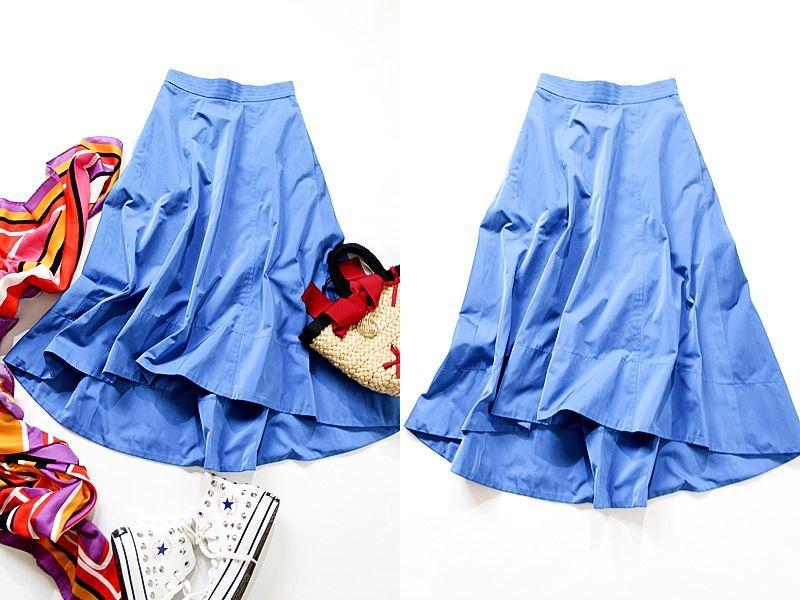 新品タグ付き アナイ ANAYI サイドZIP ポケット付き 綺麗なブルーカラー コットンブレンドスカート
