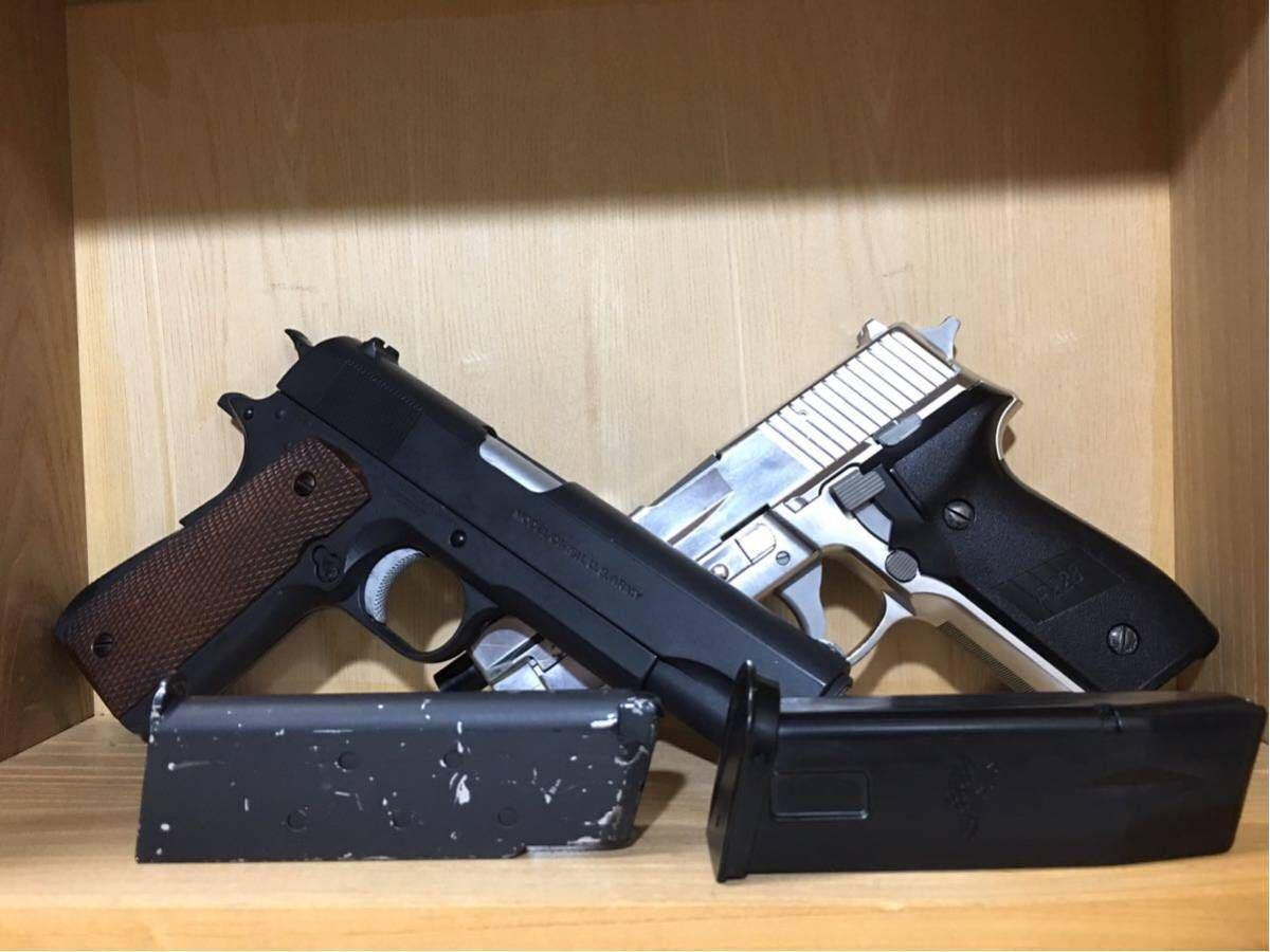 まとめ売り 2丁 東京マルイ コルト M1911A1 カスタム品 リアル塗装 スライドストップ加工 SIG P226 シルバーモデル 18歳以上 作動確認済み