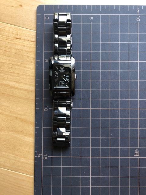 KK452 美品 付属品付 EMPORIO ARMANI/エンポリオアルマーニ CERAMICA スモセコ ブラックカラー 純正ブレス AR-1407 クオーツ 腕時計_画像4