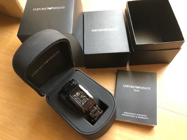 KK452 美品 付属品付 EMPORIO ARMANI/エンポリオアルマーニ CERAMICA スモセコ ブラックカラー 純正ブレス AR-1407 クオーツ 腕時計_画像1