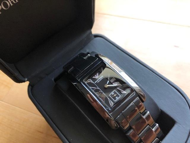 KK452 美品 付属品付 EMPORIO ARMANI/エンポリオアルマーニ CERAMICA スモセコ ブラックカラー 純正ブレス AR-1407 クオーツ 腕時計_画像2
