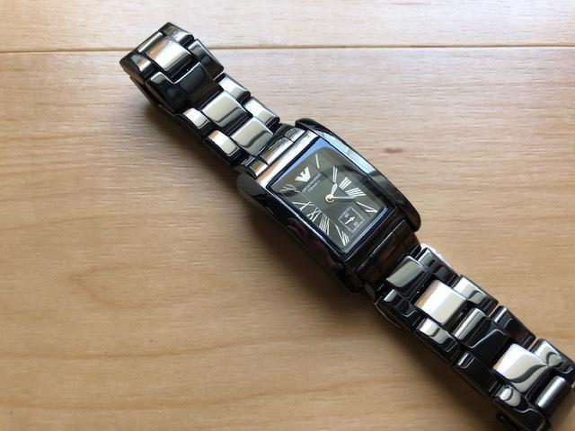 KK452 美品 付属品付 EMPORIO ARMANI/エンポリオアルマーニ CERAMICA スモセコ ブラックカラー 純正ブレス AR-1407 クオーツ 腕時計_画像3