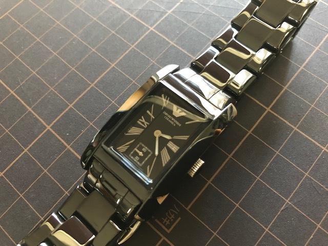 KK452 美品 付属品付 EMPORIO ARMANI/エンポリオアルマーニ CERAMICA スモセコ ブラックカラー 純正ブレス AR-1407 クオーツ 腕時計_画像5