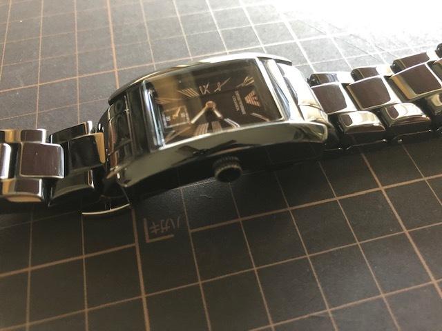 KK452 美品 付属品付 EMPORIO ARMANI/エンポリオアルマーニ CERAMICA スモセコ ブラックカラー 純正ブレス AR-1407 クオーツ 腕時計_画像6
