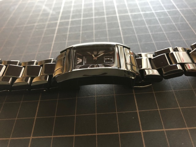 KK452 美品 付属品付 EMPORIO ARMANI/エンポリオアルマーニ CERAMICA スモセコ ブラックカラー 純正ブレス AR-1407 クオーツ 腕時計_画像7
