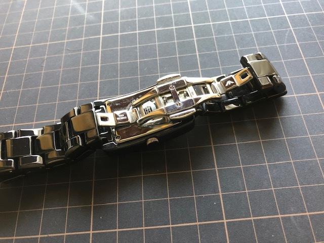 KK452 美品 付属品付 EMPORIO ARMANI/エンポリオアルマーニ CERAMICA スモセコ ブラックカラー 純正ブレス AR-1407 クオーツ 腕時計_画像8