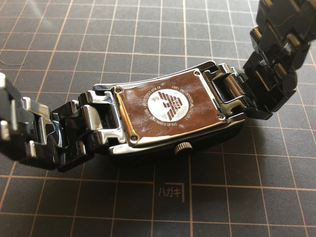KK452 美品 付属品付 EMPORIO ARMANI/エンポリオアルマーニ CERAMICA スモセコ ブラックカラー 純正ブレス AR-1407 クオーツ 腕時計_画像9