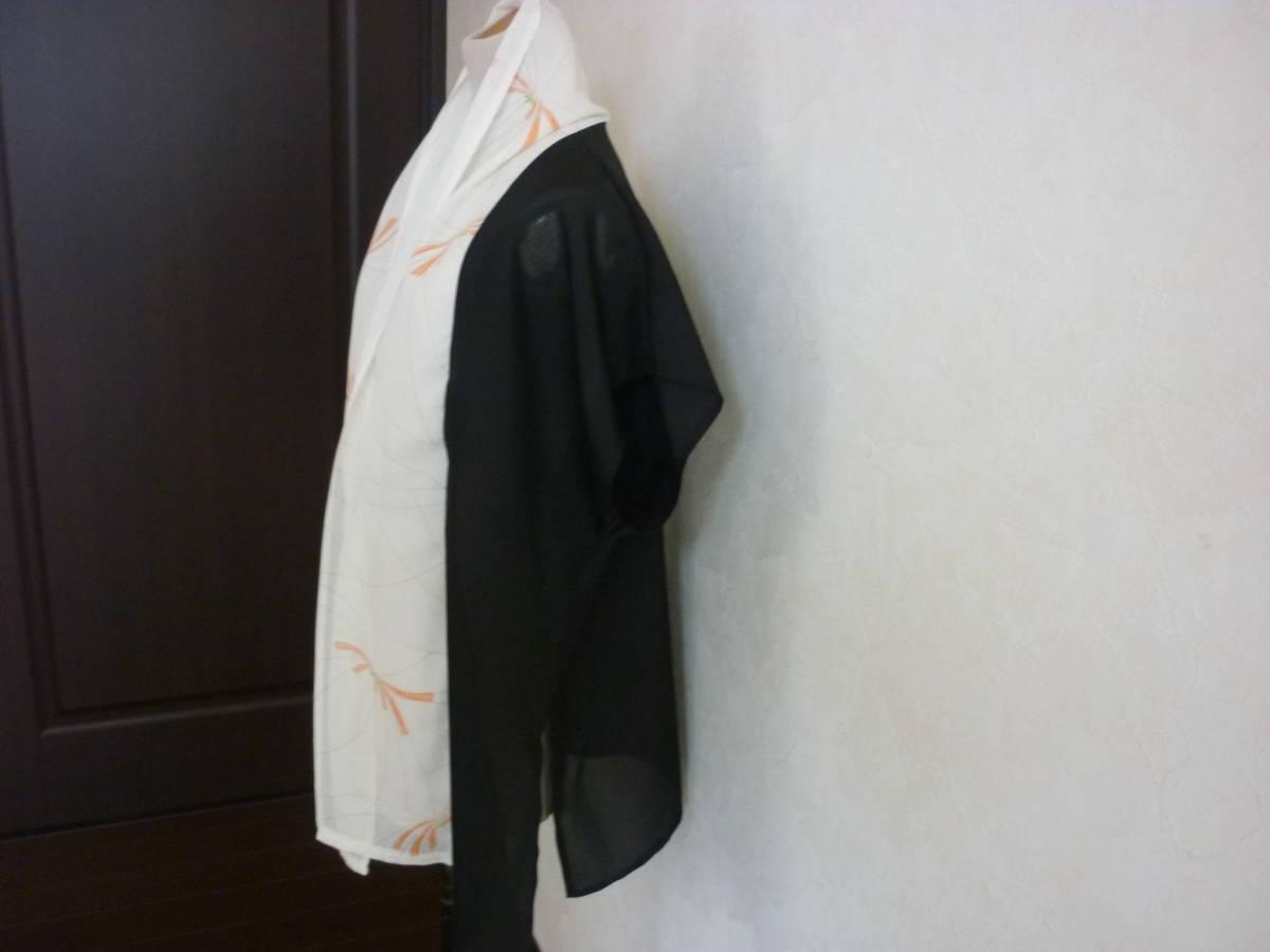 即決,大きいサイズLL,2L,3L,4L,ストール襟,透け感の黒&柄絽,ロングスリット,着物リメイク,チュニック,ベスト,ハンドメイド,夏着物_画像7