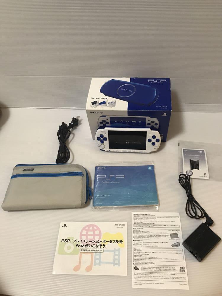 美品 動作良好 SONY PSP 3000 バリューパック ブルー ホワイト 動作確認済み クロスのみ欠品 外箱にキレあり_画像2