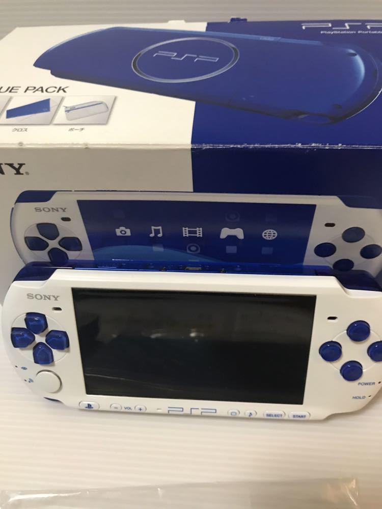 美品 動作良好 SONY PSP 3000 バリューパック ブルー ホワイト 動作確認済み クロスのみ欠品 外箱にキレあり_画像4