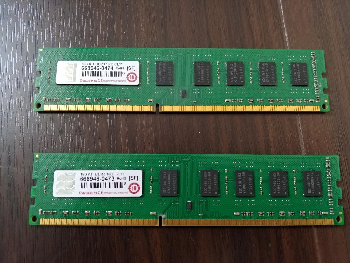【動作確認済み】メモリ Transcend DDR3 1600 16GB (8GB×2枚)