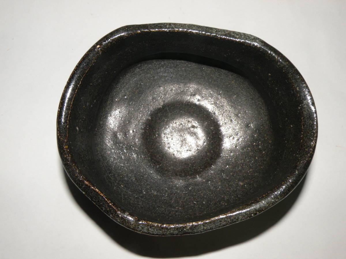 美濃焼 古美濃 黒織部 沓形 茶碗 茶道具 <H-33>_画像3