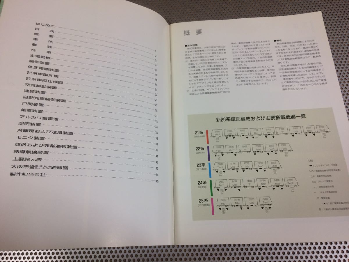 '91 大阪市交通局 NEW20系 VVVF インバータ車両 カタログ 3つ折り21系車両仕様図 45ページ 送料¥250円_画像3