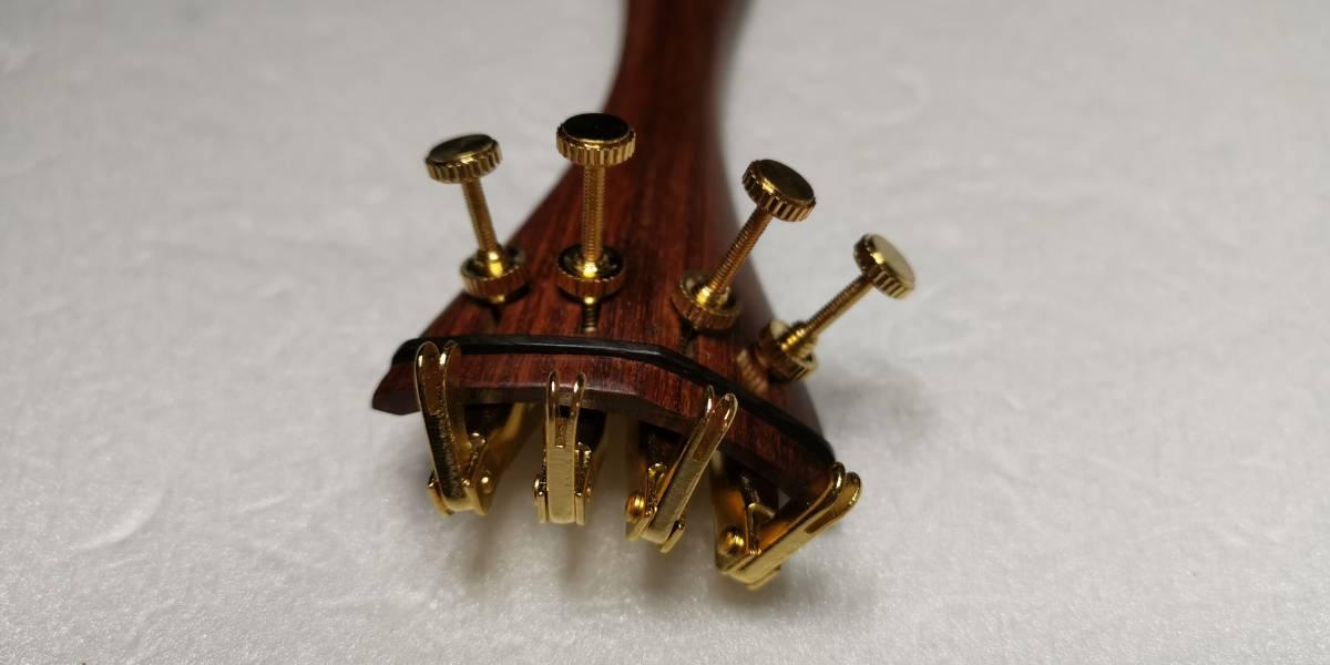 4/4バイオリンのローズウッド部品(ブラック飾り)とゴールドアジャスター4本付きのフルセットです!_画像5