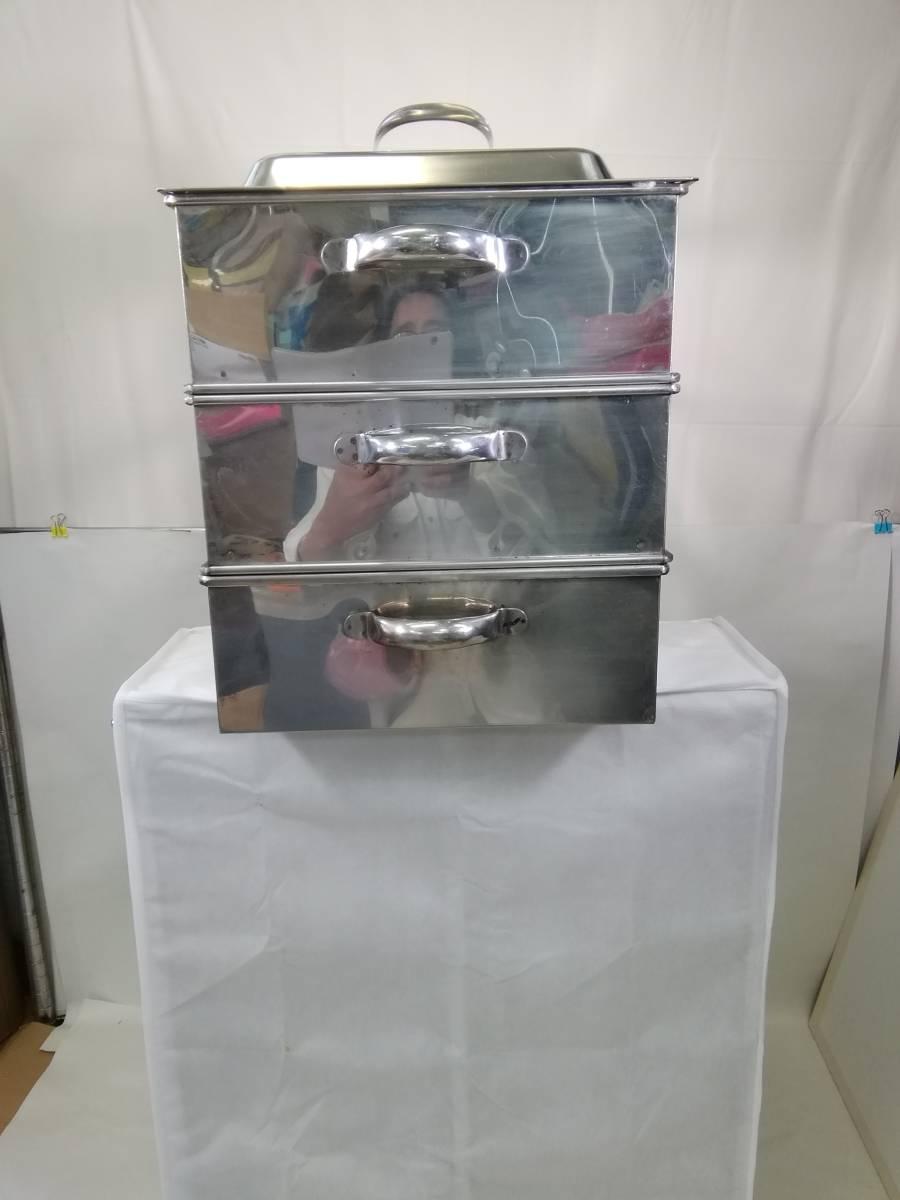 MTH322 蒸し器 業務用 2段蒸し器 三段蒸し器 中古 厨房機器 厨房機材 厨房用品_画像2
