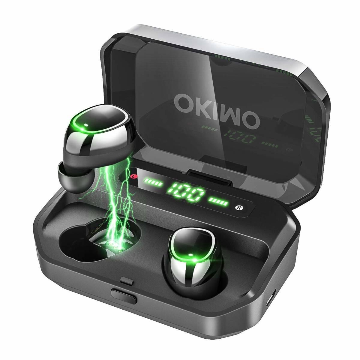 [新品1円スタート]OKIMO LEDディスプレイ Bluetooth イヤホン ワイヤレス 電池残量 Hi-Fi 高音質