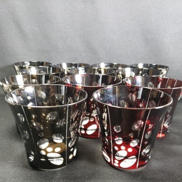 未使用 色被切子ドットロックグラス 大量12個セットまとめて BR/RD ガラス食器/業務用/店舗用/カフェ/レストラン
