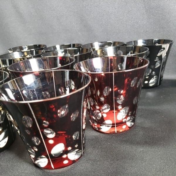 未使用 色被切子ドットロックグラス 大量12個セットまとめて BR/RD ガラス食器/業務用/店舗用/カフェ/レストラン_画像4