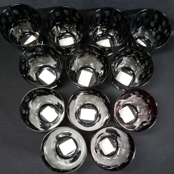 未使用 色被切子ドットロックグラス 大量12個セットまとめて BR/RD ガラス食器/業務用/店舗用/カフェ/レストラン_画像2