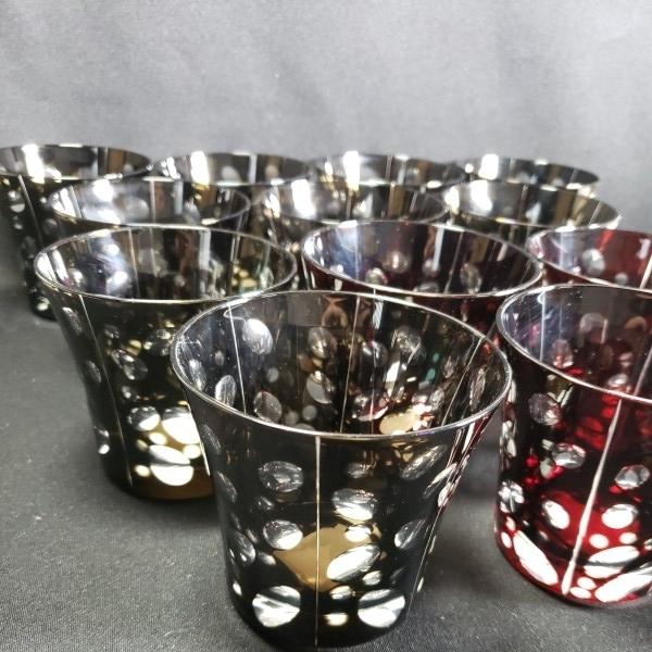未使用 色被切子ドットロックグラス 大量12個セットまとめて BR/RD ガラス食器/業務用/店舗用/カフェ/レストラン_画像3