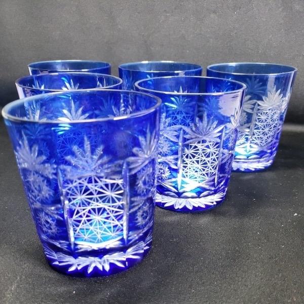 未使用 色被切子ロックグラス 6個セット ガラス食器/業務用/店舗用/カフェ/レストラン_画像3