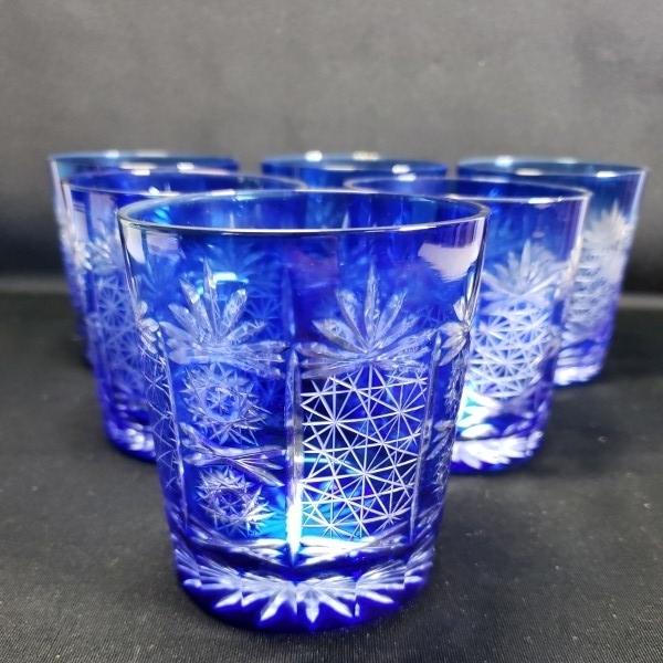 未使用 色被切子ロックグラス 6個セット ガラス食器/業務用/店舗用/カフェ/レストラン