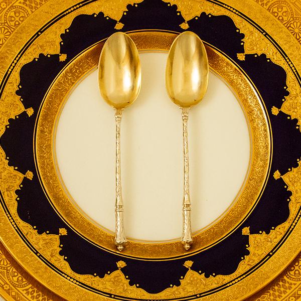 ピュイフォルカ ロシア様式 ティースプーンx2 無垢金鍍金【t96】フランス・アンティーク・カトラリー
