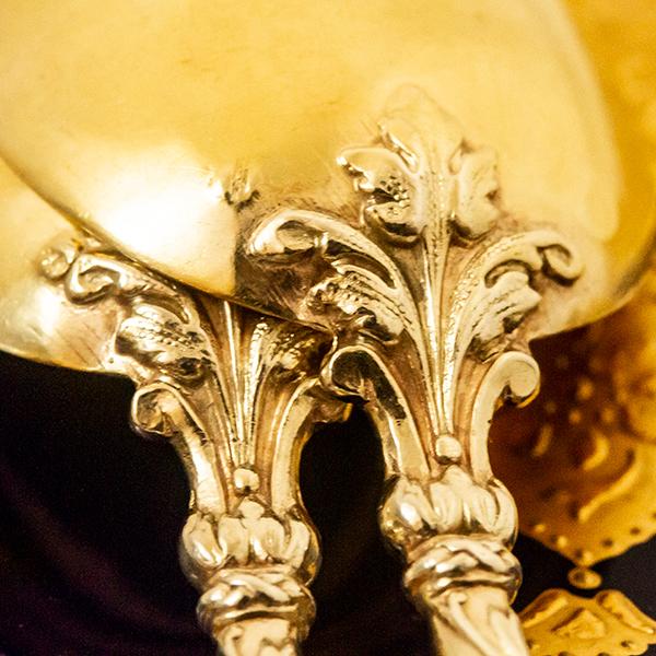 ピュイフォルカ ロシア様式 ティースプーンx2 無垢金鍍金【t96】フランス・アンティーク・カトラリー_画像8