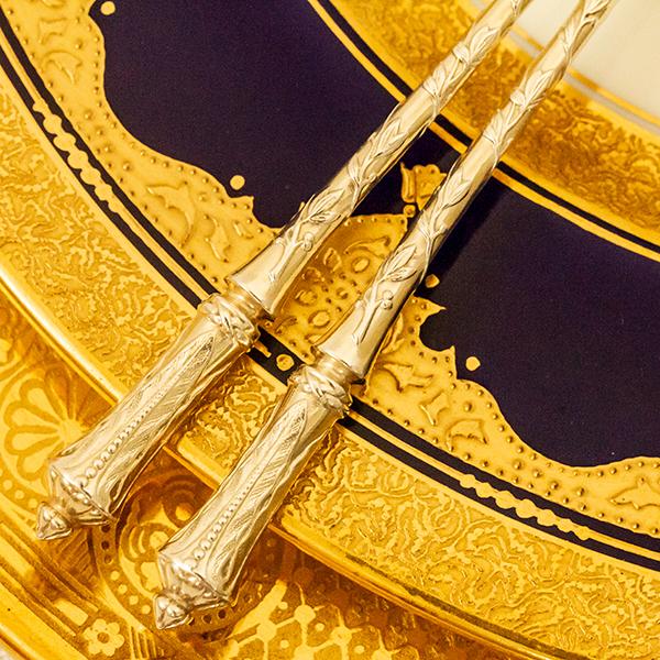 ピュイフォルカ ロシア様式 ティースプーンx2 無垢金鍍金【t96】フランス・アンティーク・カトラリー_画像3