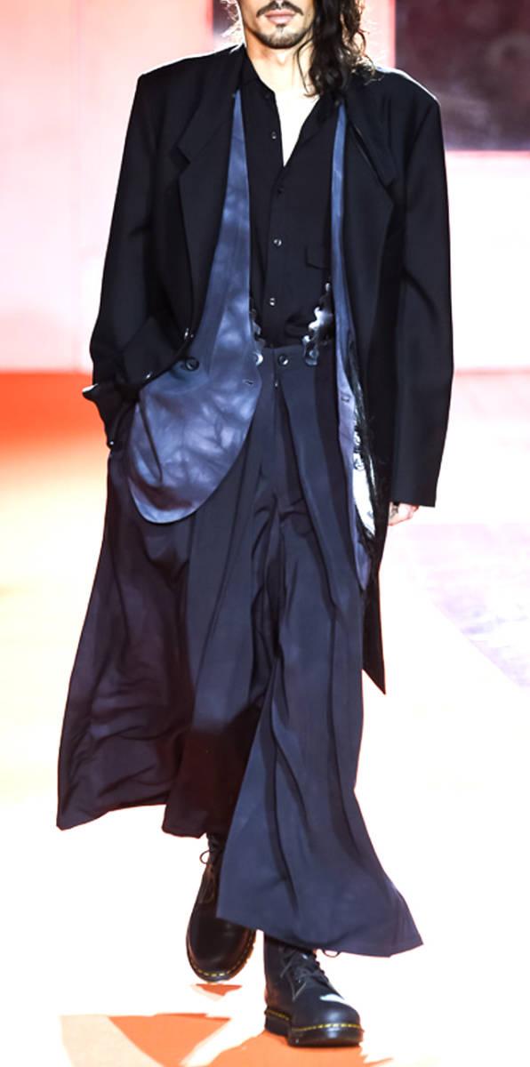 ヨウジ Yohji:顔モチーフ 別布付き ロング ジャケット ( Yohji Yamamoto pour HOMME jacket ワイズ コート 2018-19AW 古着 買取_画像4