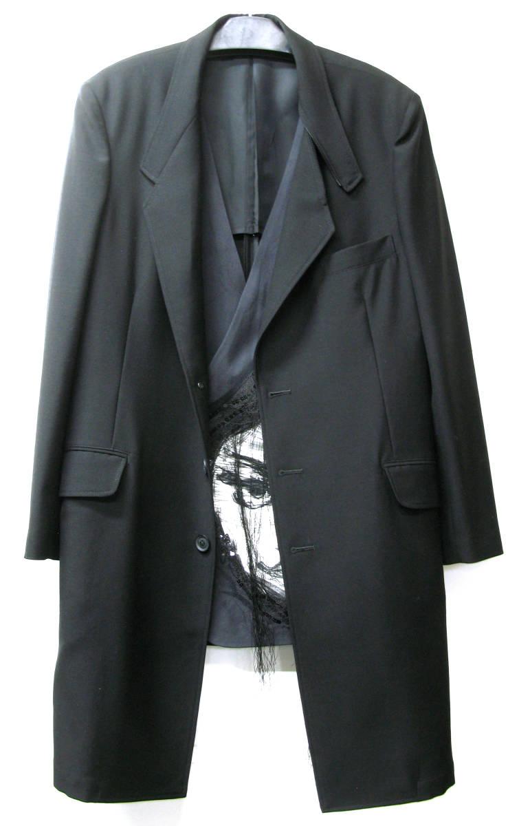 ヨウジ Yohji:顔モチーフ 別布付き ロング ジャケット ( Yohji Yamamoto pour HOMME jacket ワイズ コート 2018-19AW 古着 買取_画像1