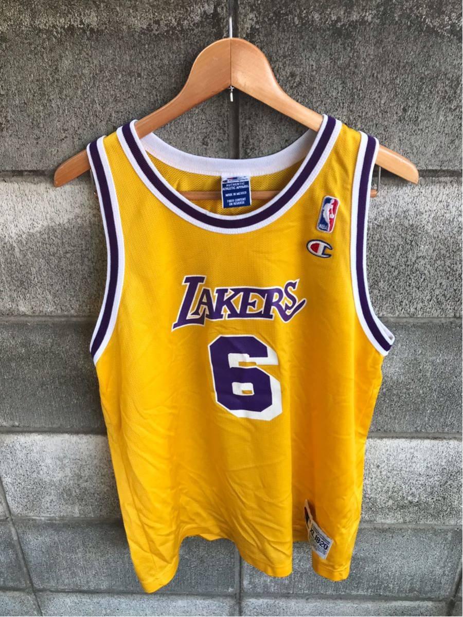 アメリカ買い付け品 1990s~ LAKERS x Champion レイカーズ x チャンピオンゲームシャツ メッシュ タンクトップ XL 18-20 ボーイズ_画像1