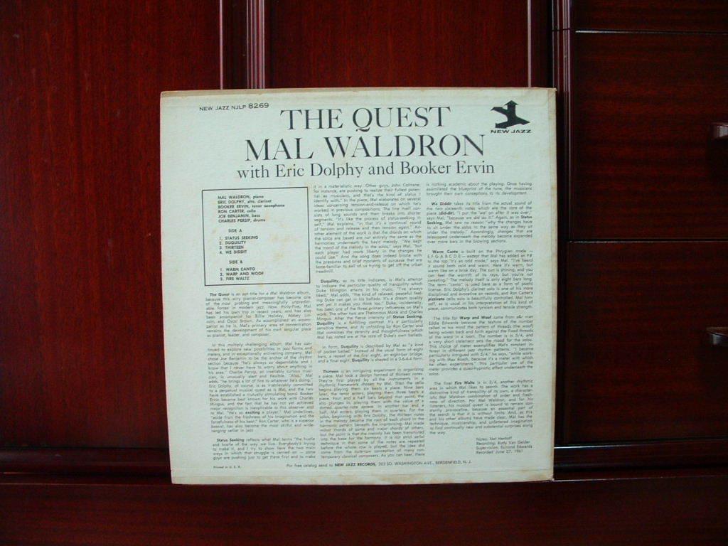 【オリジナル入手困難】MAL WALDRON / The Quest (DG,紫ラベル,RVG,Eric Dolphy,New Jazz)_画像2