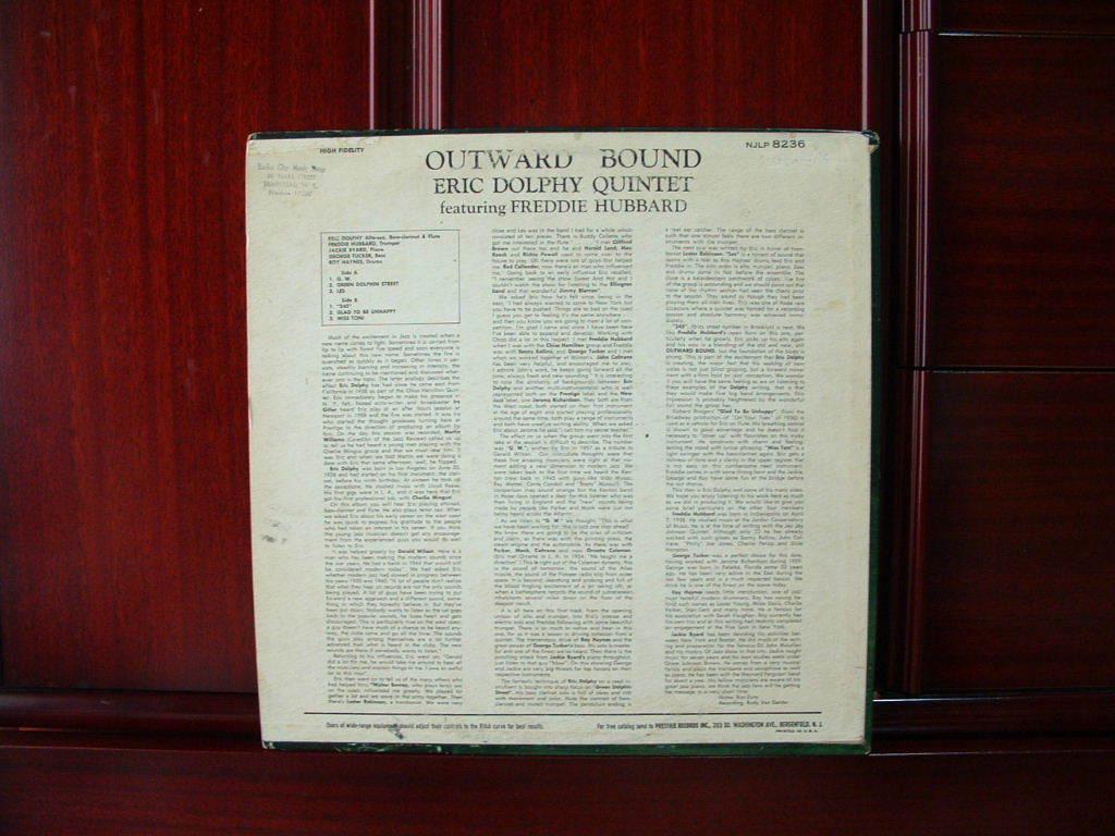 【オリジナル入手困難】ERIC DOLPHY / Outward Bound (DG,紫ラベル,RVG,New Jazz)_画像2