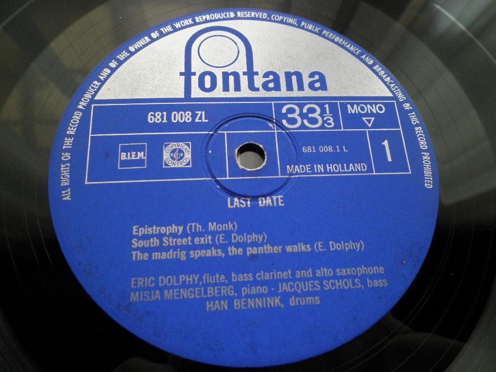 【蘭オリジナル入手困難】ERIC DOLPHY / Last Date オランダ (DG,青ラベル,Fontana)_画像3