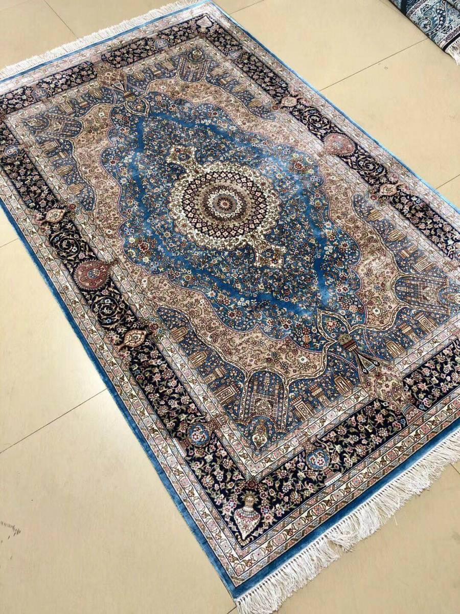 SALE!!!ペルシャ絨毯 シルク100% 手織り絨毯 122㎝x183cm (DVEV1) 私のYahoo!アカウントは1つしかありません!_画像2