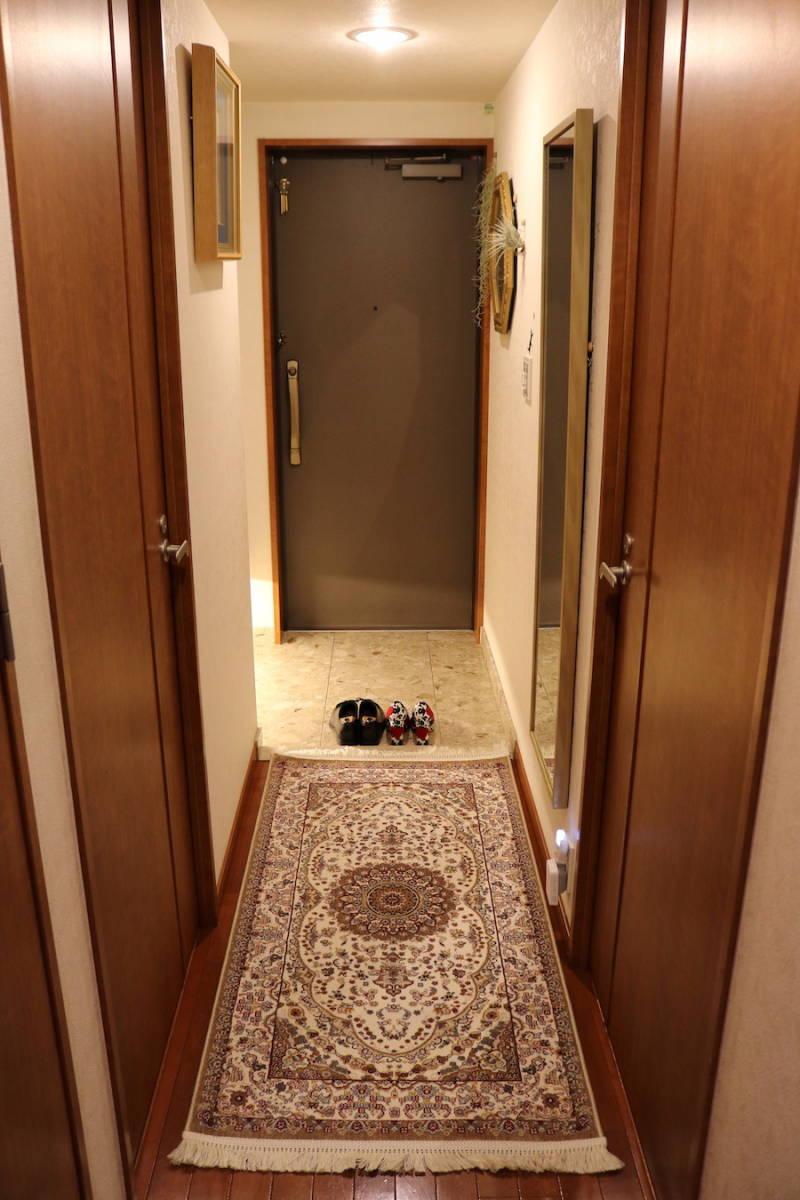 ランナー ペルシャ柄絨毯 77×163 新品未使用 カーペット 玄関マット キッチンマット 訳あり アウトレット アイボリー_画像10