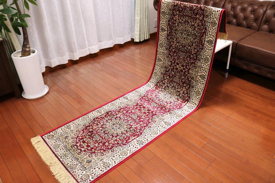 ランナー ペルシャ柄絨毯 67×240 新品未使用 カーペット 玄関マット 訳あり アウトレット レッド
