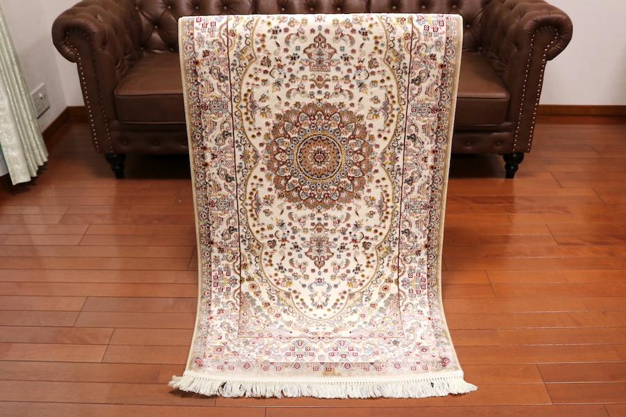 ランナー ペルシャ柄絨毯 77×163 新品未使用 カーペット 玄関マット キッチンマット 訳あり アウトレット アイボリー