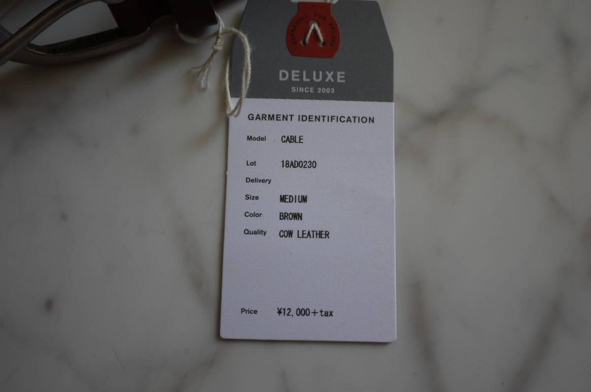 新品 未使用品 正規品 DELUXE デラックス レザーケーブルベルト ブラウン 茶 牛革 F 定価12,000円+税 (い41)_画像3