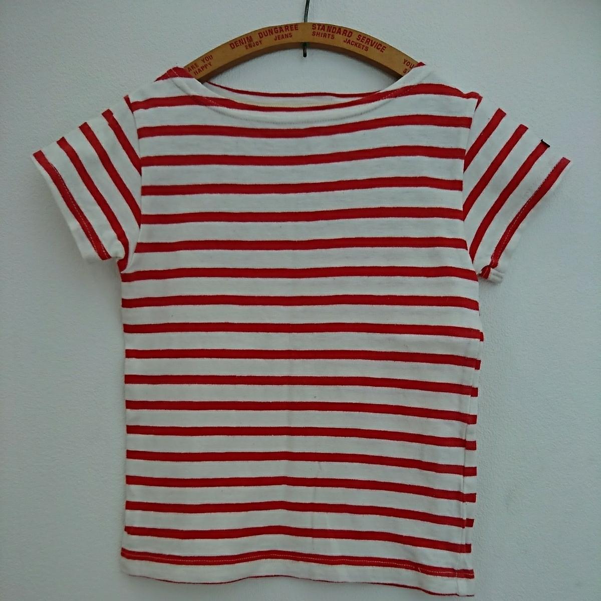 DENIM DUNGAREE ボーダーTシャツ 120 レッド FITH ゴートゥーハリウッド GO TO HOLLYWOOD デニム&ダンガリー 半袖 カットソー