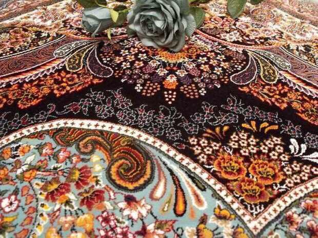 人気推薦豪華天然☆シルク100% ペルシャ絨毯☆入ペルシャ絨毯☆ウール高密度300万縫い針世界の名品☆200*300CMWS2_画像4