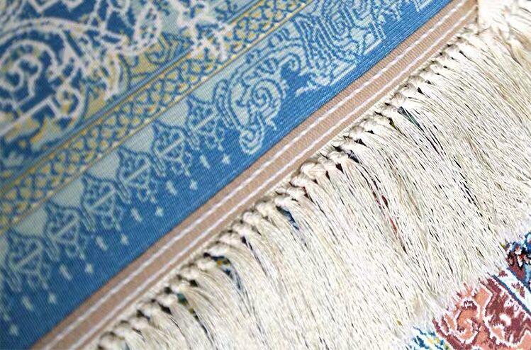 ∇花∇最高級ペルシャ絨毯① クム産超高級シルク100% 細密手織の大判 200×200cm 発表価格1300万円の超極上品_画像5