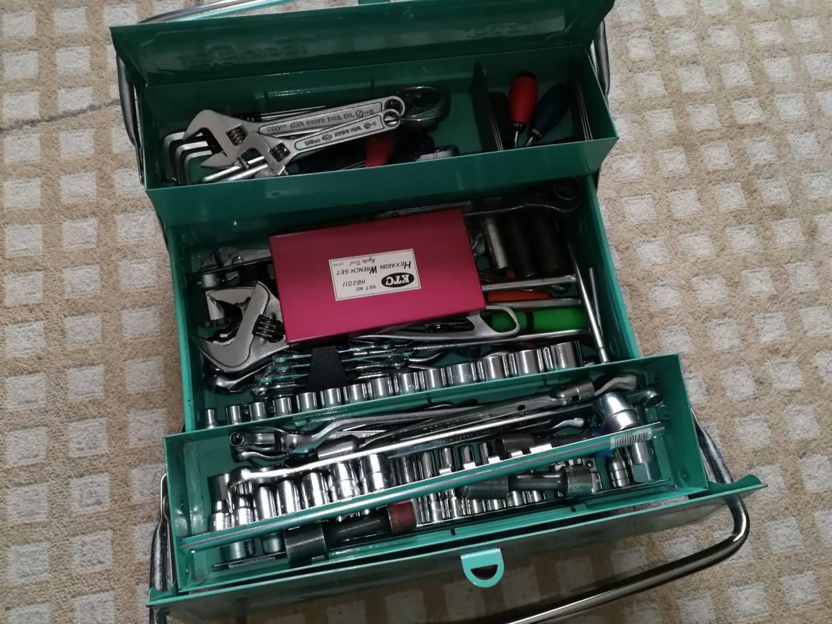 KTC ツールボックス 工具セット 106点 ラチェットハンドル メガネレンチ ヘキサゴンレンチセット スパナ ソケット等