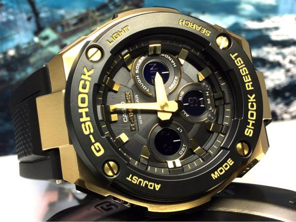 G-STEEL Gスチール 新品 CASIO カシオ G-SHOCK Gショック 正規品 タフソーラー 腕時計 GST アナデジ 腕時計 ブラック ゴールド プレゼント_画像2