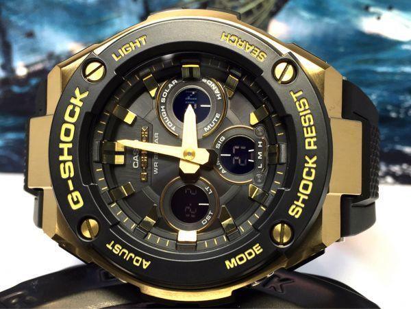 G-STEEL Gスチール 新品 CASIO カシオ G-SHOCK Gショック 正規品 タフソーラー 腕時計 GST アナデジ 腕時計 ブラック ゴールド プレゼント_画像4
