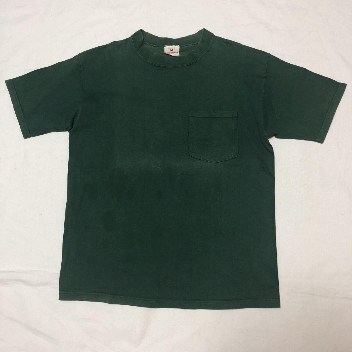 オールド アメリカ製 GOODWEAR ポケットT 90s 古着 USA コットン ヘビーウェイト ポケT グリーン グッドウェア 半袖 M