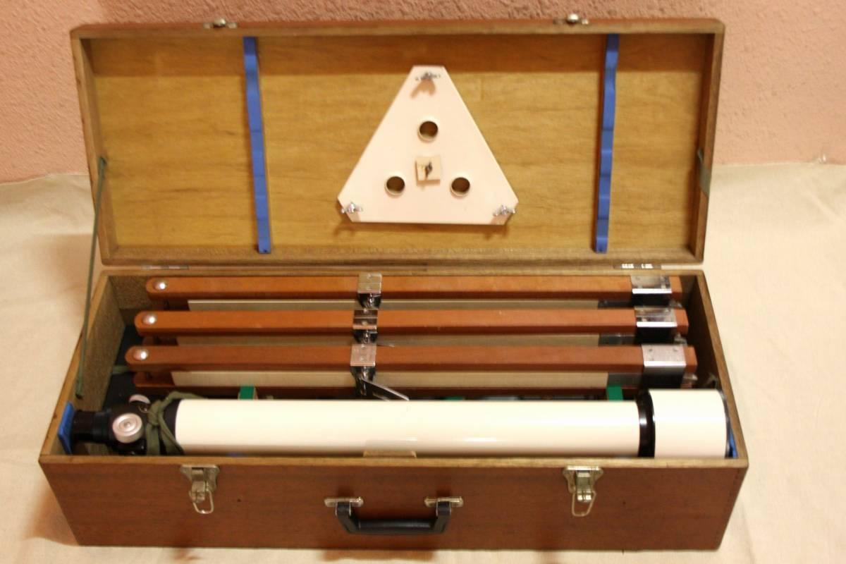 タカハシ(高橋製作所)65㎜ 屈折望遠鏡 V-1 型 赤道儀 三脚等一式 木箱入り_画像9